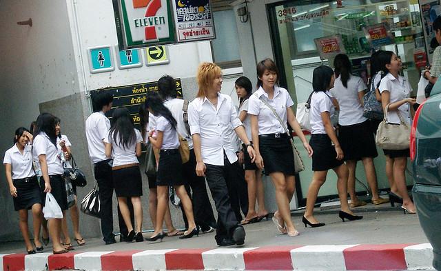 Estudiantes de universidad en Bangkok